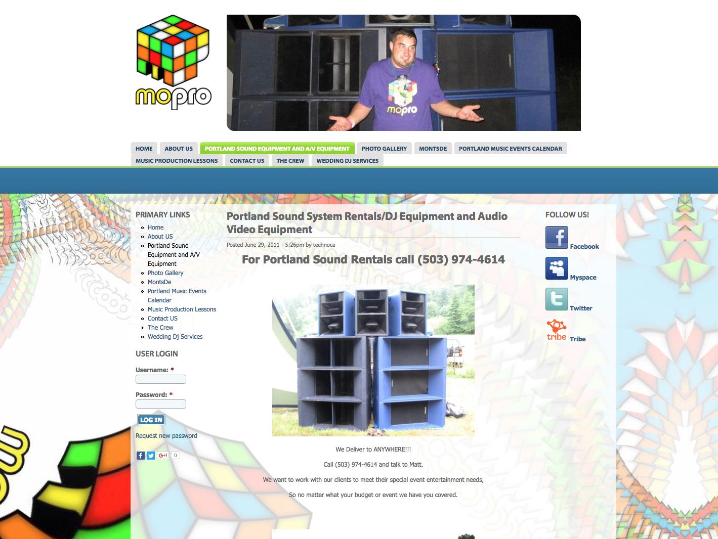 A custom designed website for Mo Pro Crew